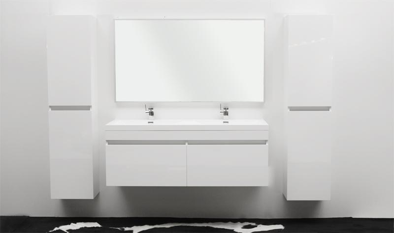 Meuble Salle De Bain Blanc Laque Double Vasque