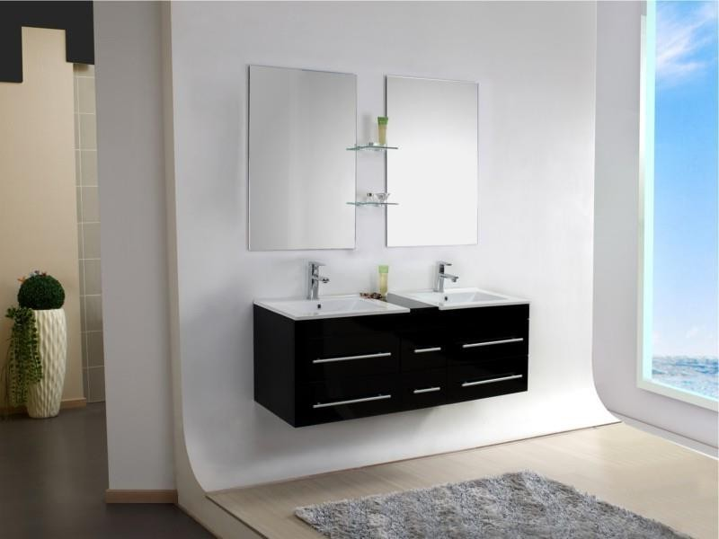 meuble salle de bain sur pied double vasque salle de. Black Bedroom Furniture Sets. Home Design Ideas