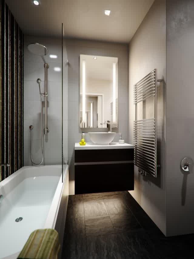 Amenagement salle de bain dans petit espace salle de - Implantation salle de bain 6m2 ...