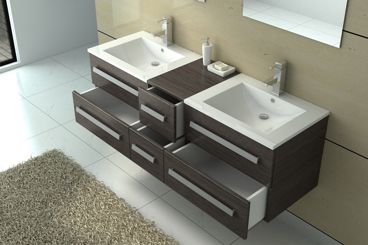 salle de bain 2 vasques elegant lavabo gris salle bain. Black Bedroom Furniture Sets. Home Design Ideas