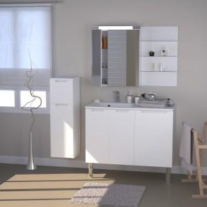 Meuble colonne salle de bain blanc laqu salle de bain - Colonne de salle de bain leroy merlin ...