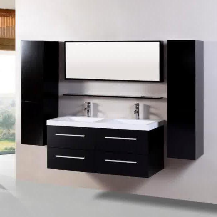 Meuble Salle De Bain Double Vasque Noir Laqué