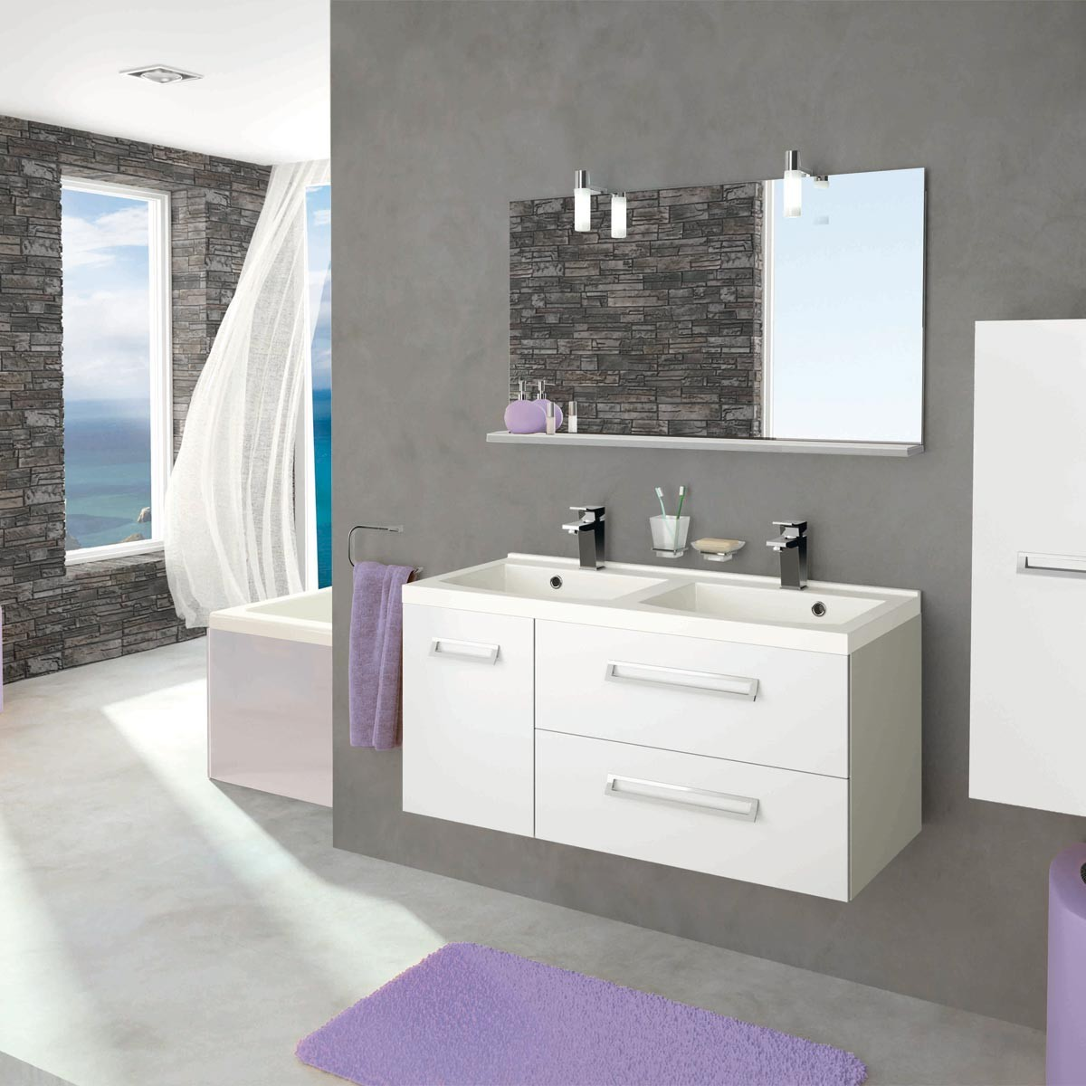 meuble salle de bain 40 cm de profondeur great meuble salle de bain unique pure delpha with. Black Bedroom Furniture Sets. Home Design Ideas