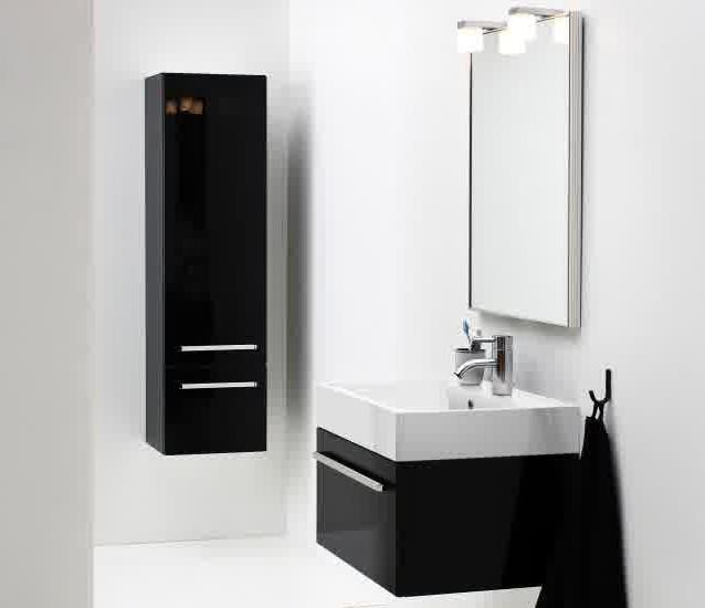 Meuble salle de bain noir laqu 80 cm salle de bain for Colonne salle de bain 80 cm