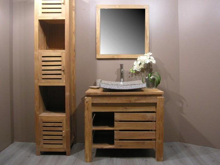 Meuble salle de bain bois for Meuble de salle de bain bois massif