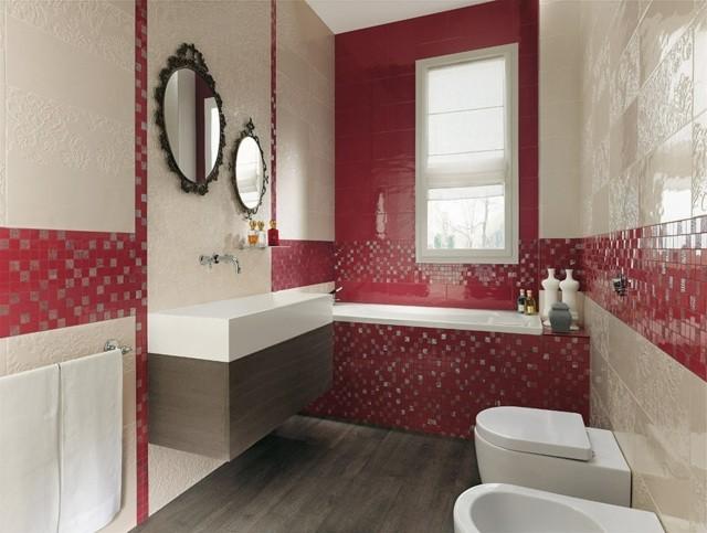 Mosaique salle de bain rouge mosaique salle de bain et for Salle bain galets mosaique