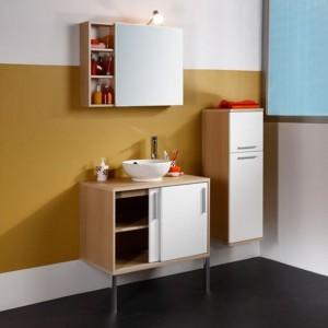 Petit meuble salle de bain laqu blanc salle de bain for Petit meuble salle de bain blanc