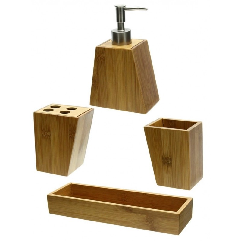 Set accessoires salle de bain bambou salle de bain for Accessoire salle de bain bambou