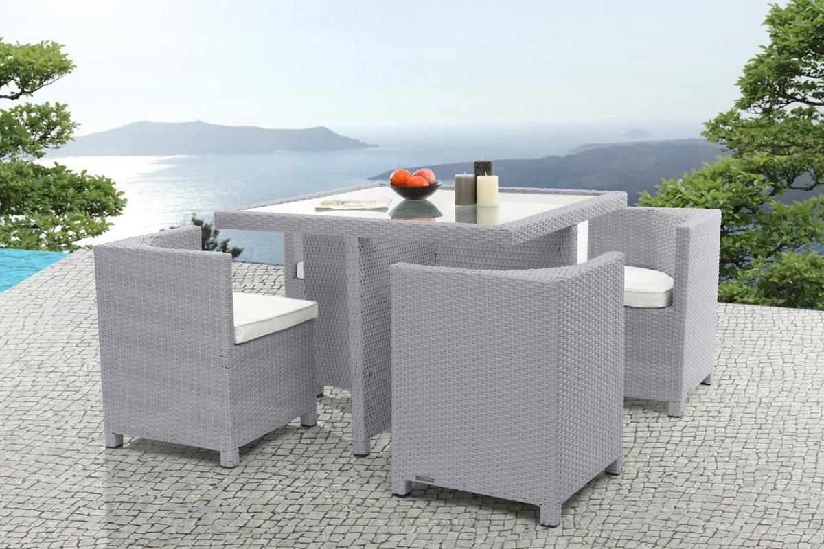 Table Et Chaise De Jardin En Resine Gris