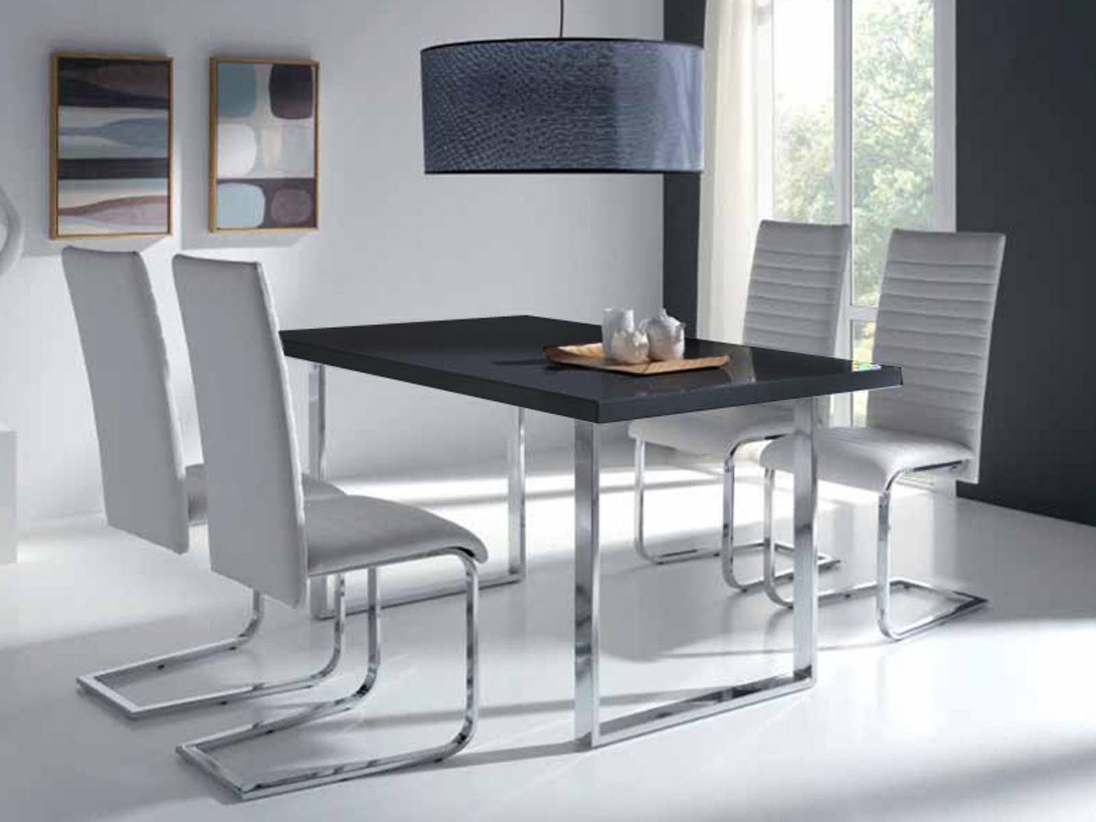 Ensemble Table Et Chaise Design Pas Cher Noir Et Blanc