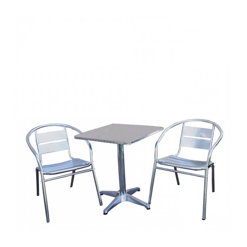 Table Et Chaise De Bistrot En Alu