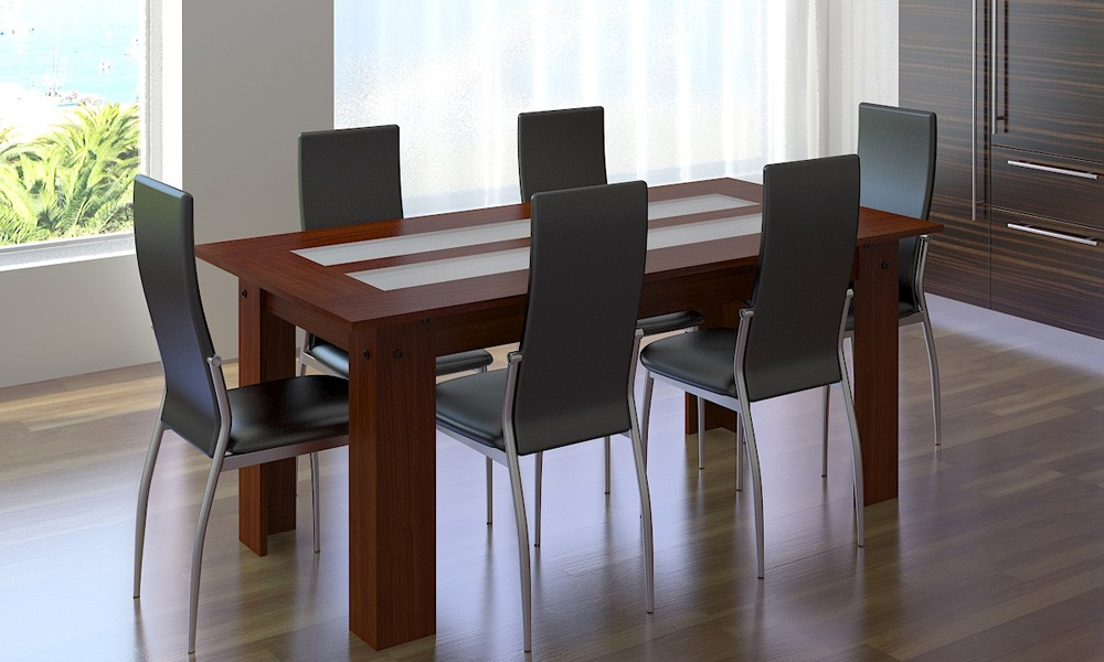 Chaise cuir noir salle manger maison design for Chaise de salle a manger simili cuir