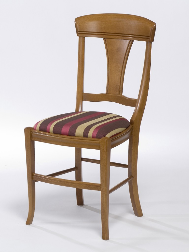 Chaise En Hêtre Massif Et Assise En Tissu