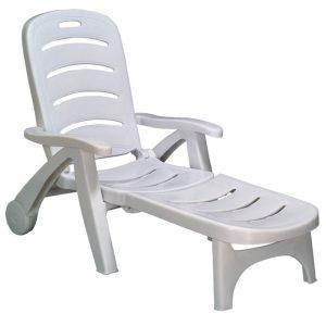 Chaise longue blanc pvc chaise id es de d coration de for Chaise longue jardin plastique blanc