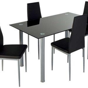 Chaise salle a manger simili cuir noir chaise id es de d coration de mais - Chaise cuir blanc conforama ...