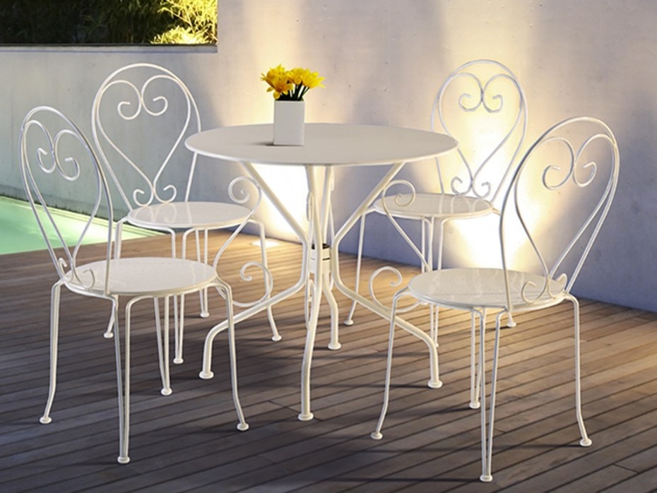 Table Et Chaise En Fer Forgé Blanc