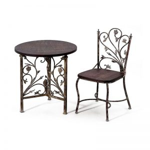 Table Et Chaise En Fer Forgé Et Bois