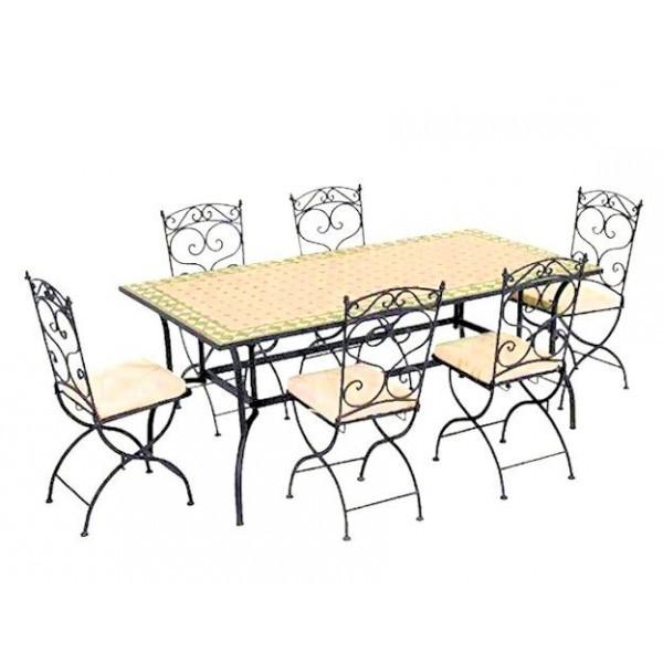 Table Et Chaises De Cuisine En Fer Forgé