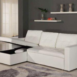 Petit Canapé D'angle Convertible Blanc