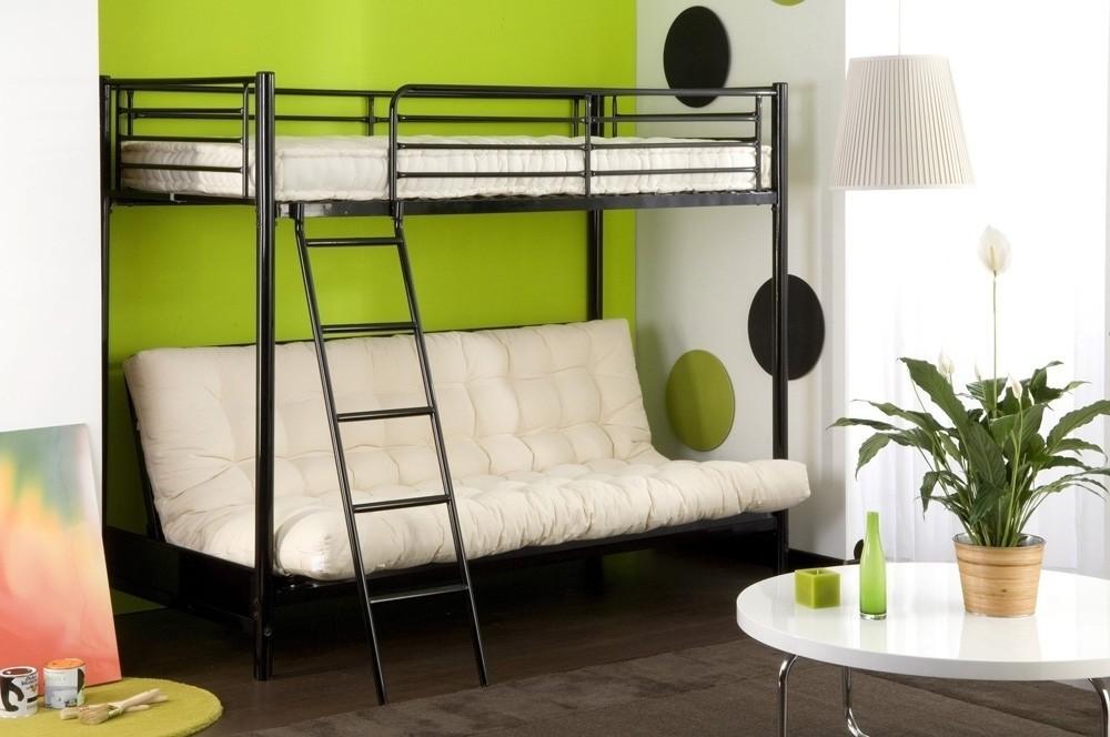 Lit mezzanine 2 places avec canap amazing lit escamotable - Lit mezzanine 2 places avec clic clac ...