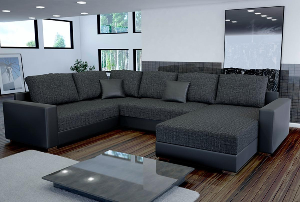 Canape Angle Convertible Gris Anthracite