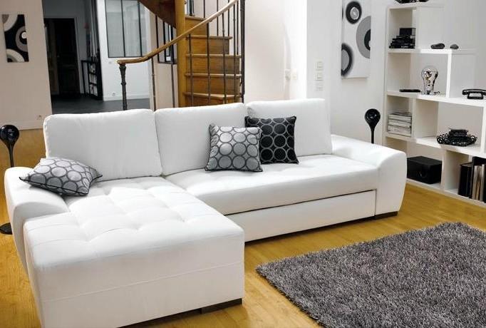 Canape Angle Cuir Blanc Conforama