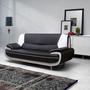 canap d 39 angle simili cuir noir et blanc canap id es de d coration de maison xadnxgwnlg. Black Bedroom Furniture Sets. Home Design Ideas