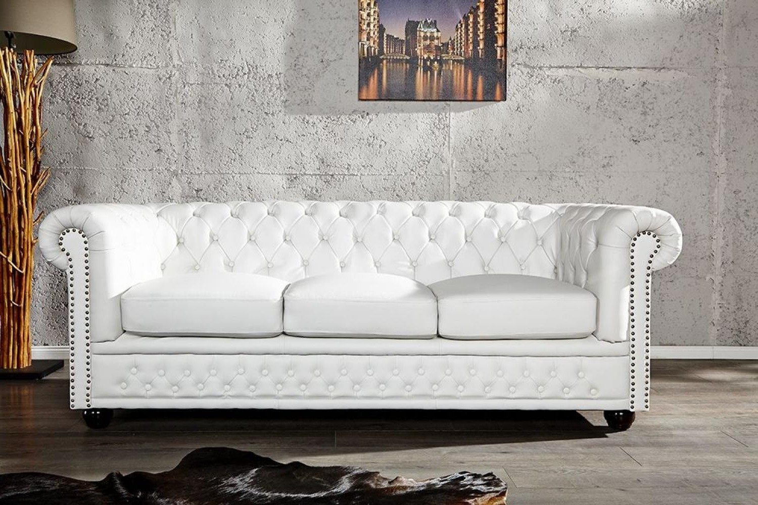 Canape Chesterfield Cuir Blanc 3 Places