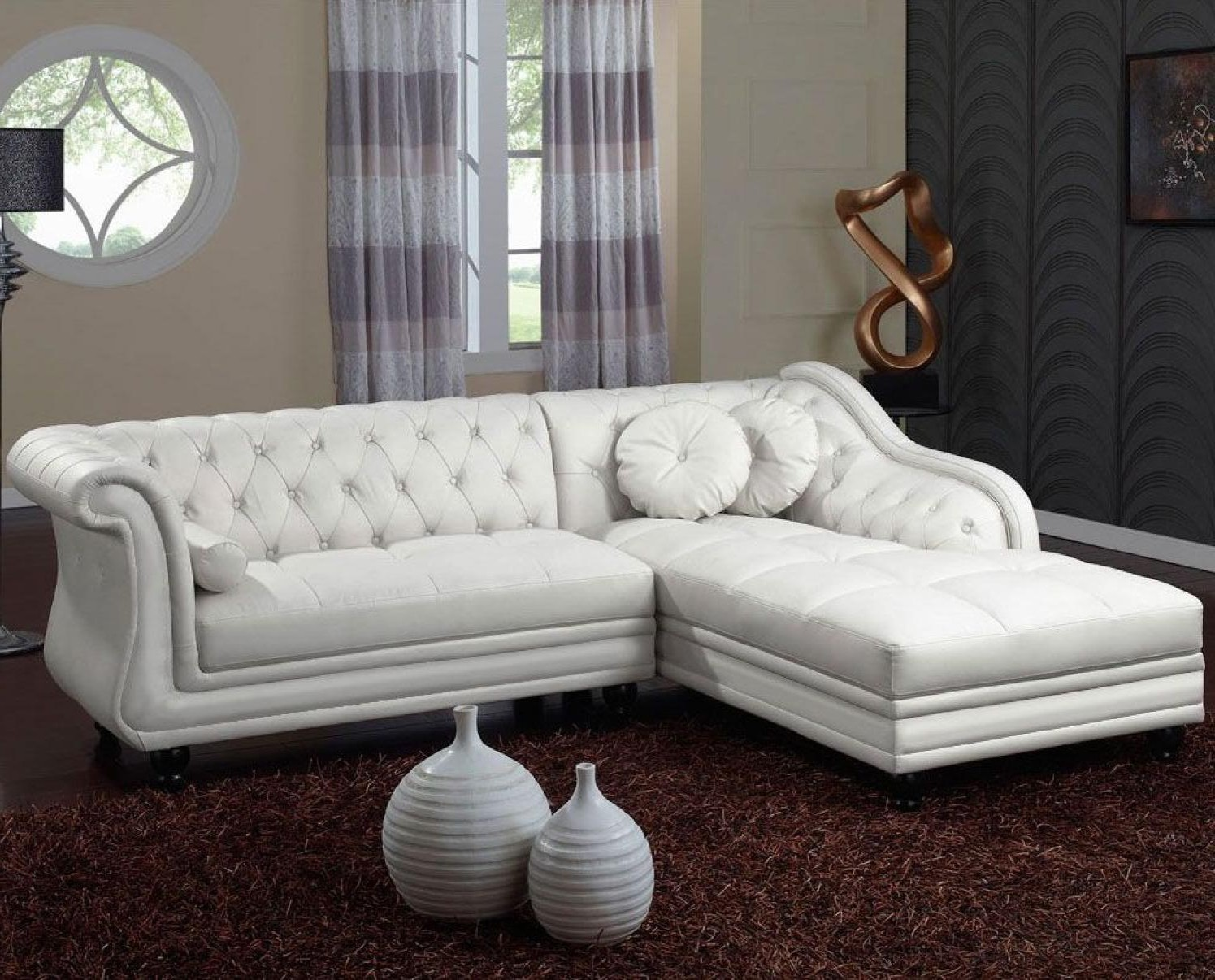Canape Dangle Chesterfield Cuir Blanc