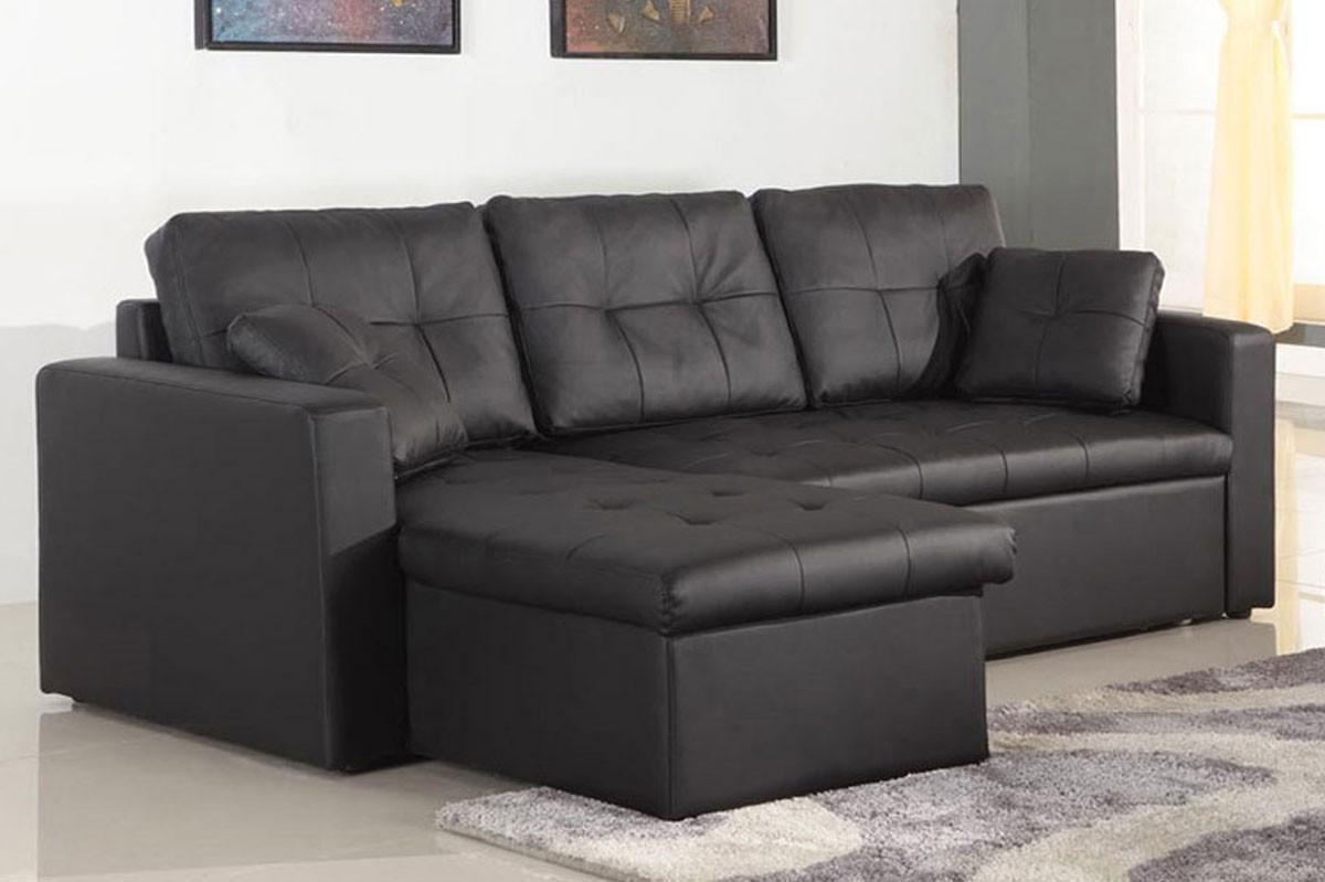 Canapé D'angle Convertible Cuir Noir