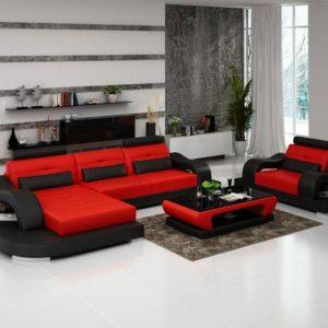 Canap d 39 angle cuir rouge et blanc canap id es de d coration de mais - Canape rouge et noir ...