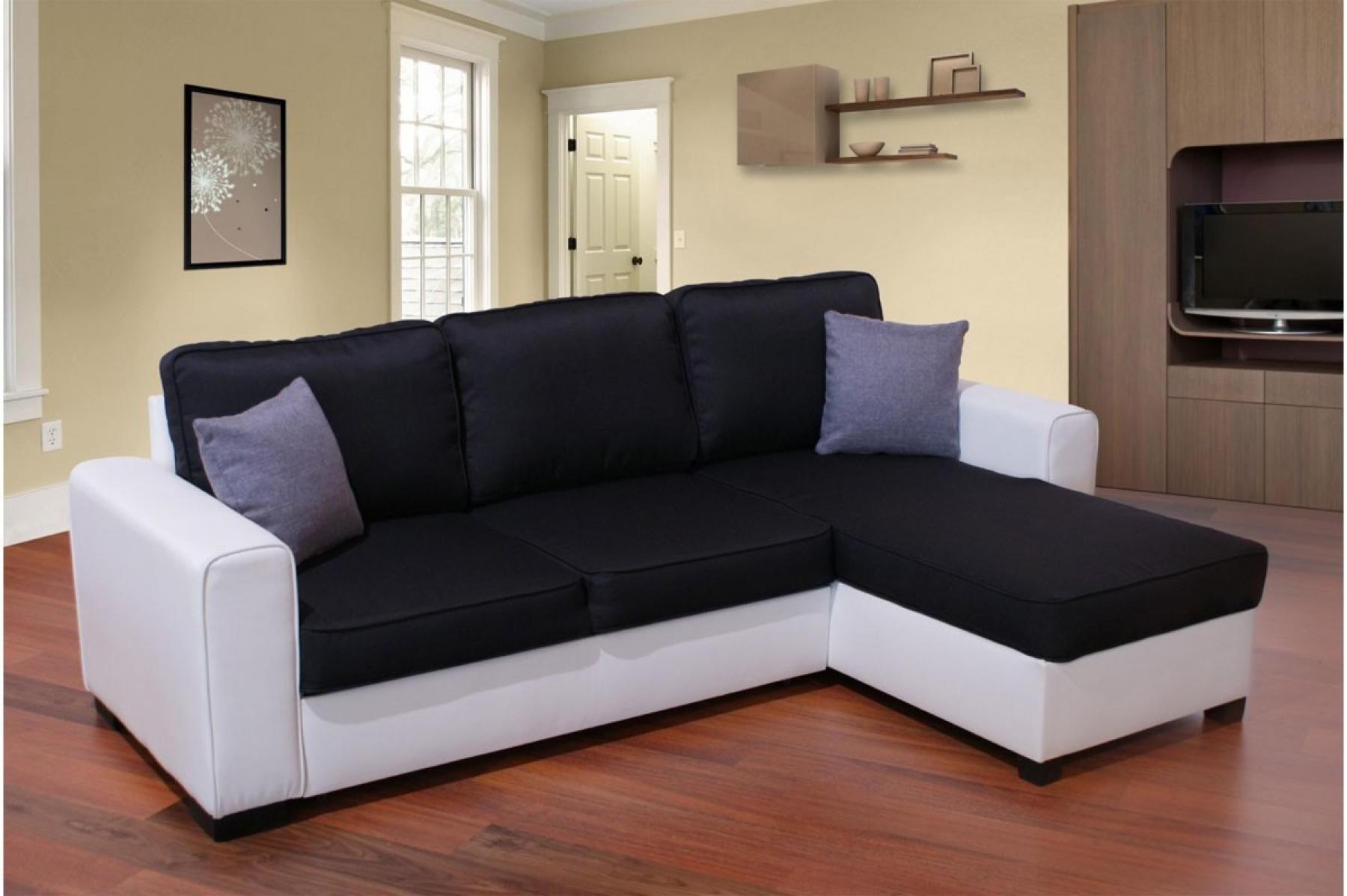 Canapé D'angle Noir Et Blanc Convertible