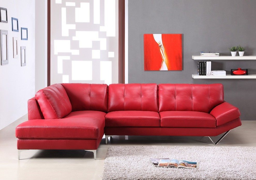 Canapé D'angle Rouge Cuir