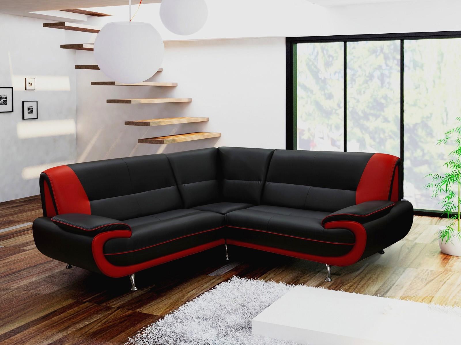 Canapé D'angle Rouge Et Noir