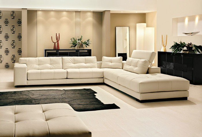 Canape Cuir Blanc De Luxe