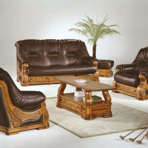 canape rustique cuir et bois canap id es de. Black Bedroom Furniture Sets. Home Design Ideas
