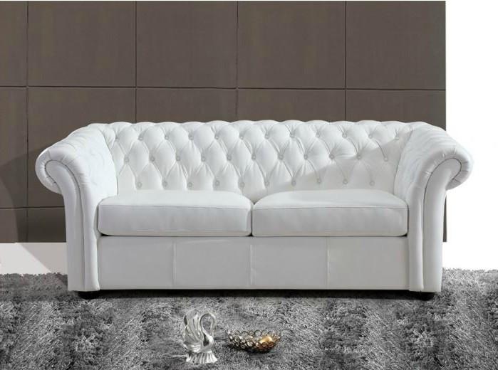 Canapé Chesterfield Cuir Blanc