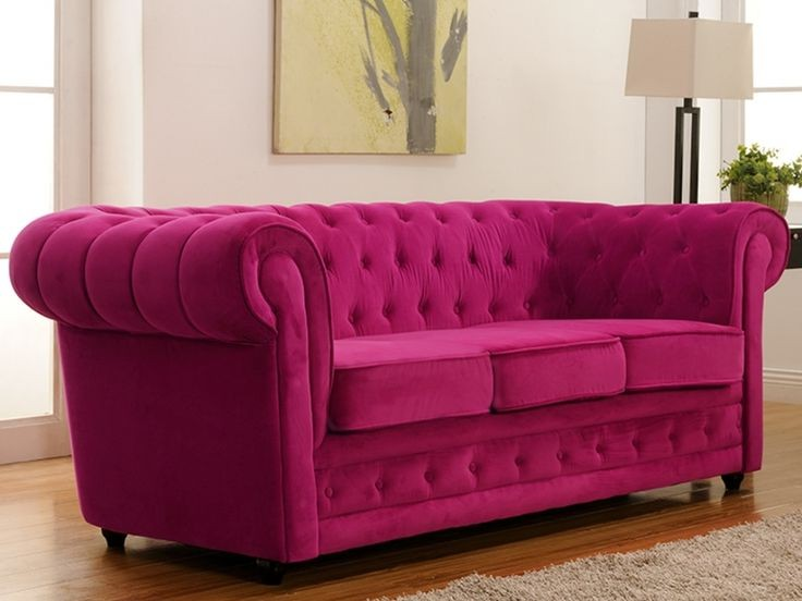 Canapé Chesterfield Velours Rose