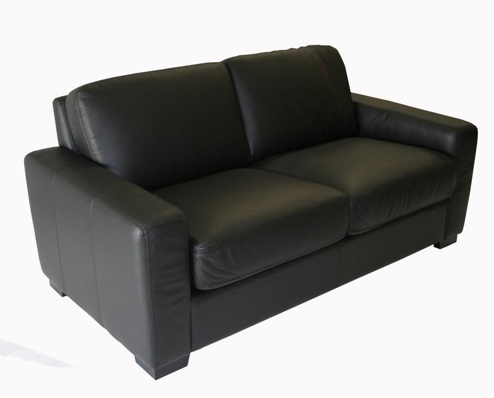 Canapé Convertible 2 Places Cuir Noir