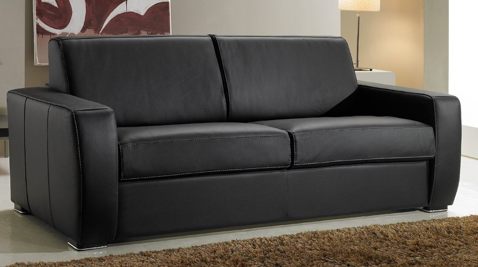 Canapé Convertible En Cuir 3 Places