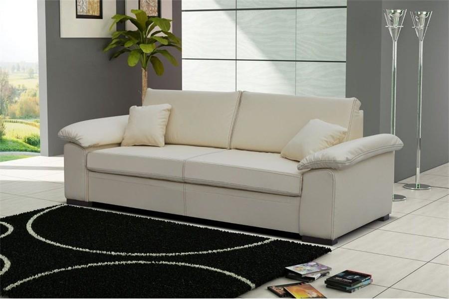 Canapé Convertible En Cuir Blanc