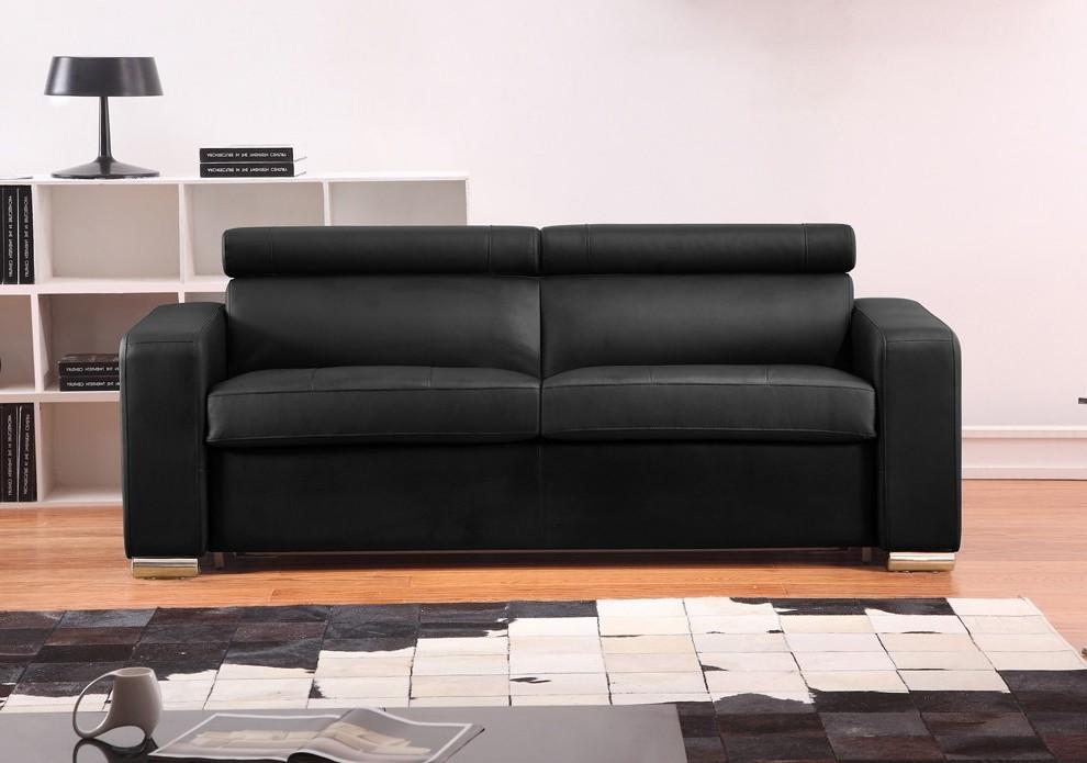 Canapé Convertible Simili Cuir Noir