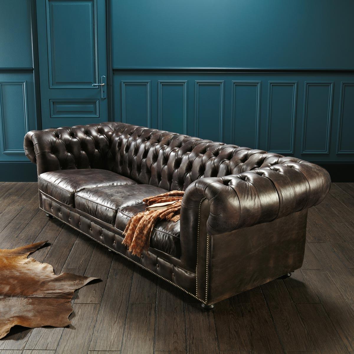 Canapé Cuir Chesterfield Vintage