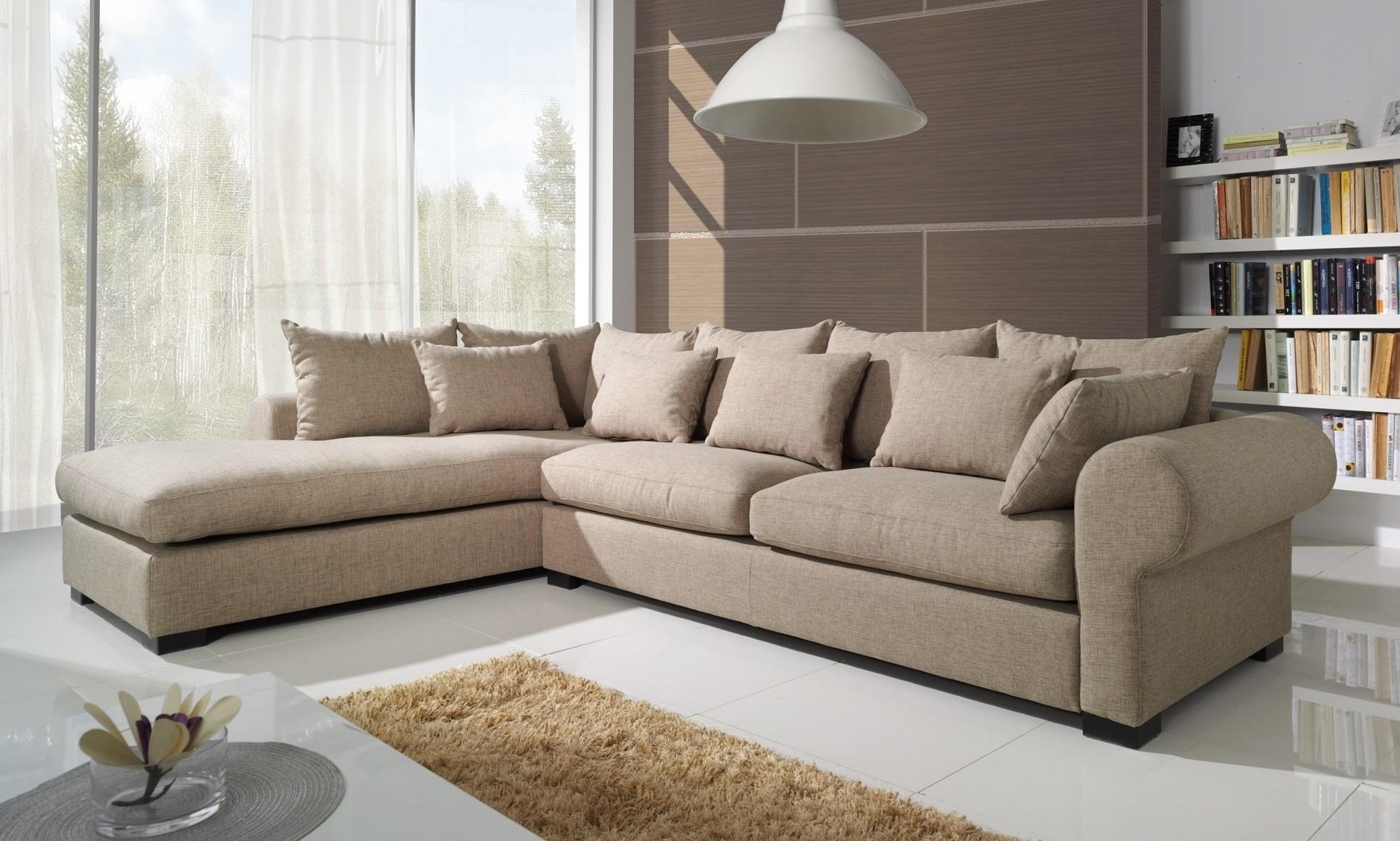 Canapé D'angle Beige Tissu