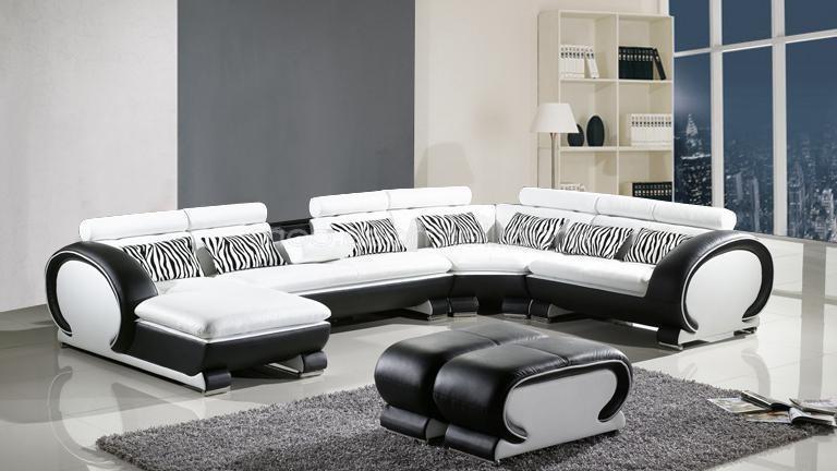 Canapé D'angle Blanc Cuir Center