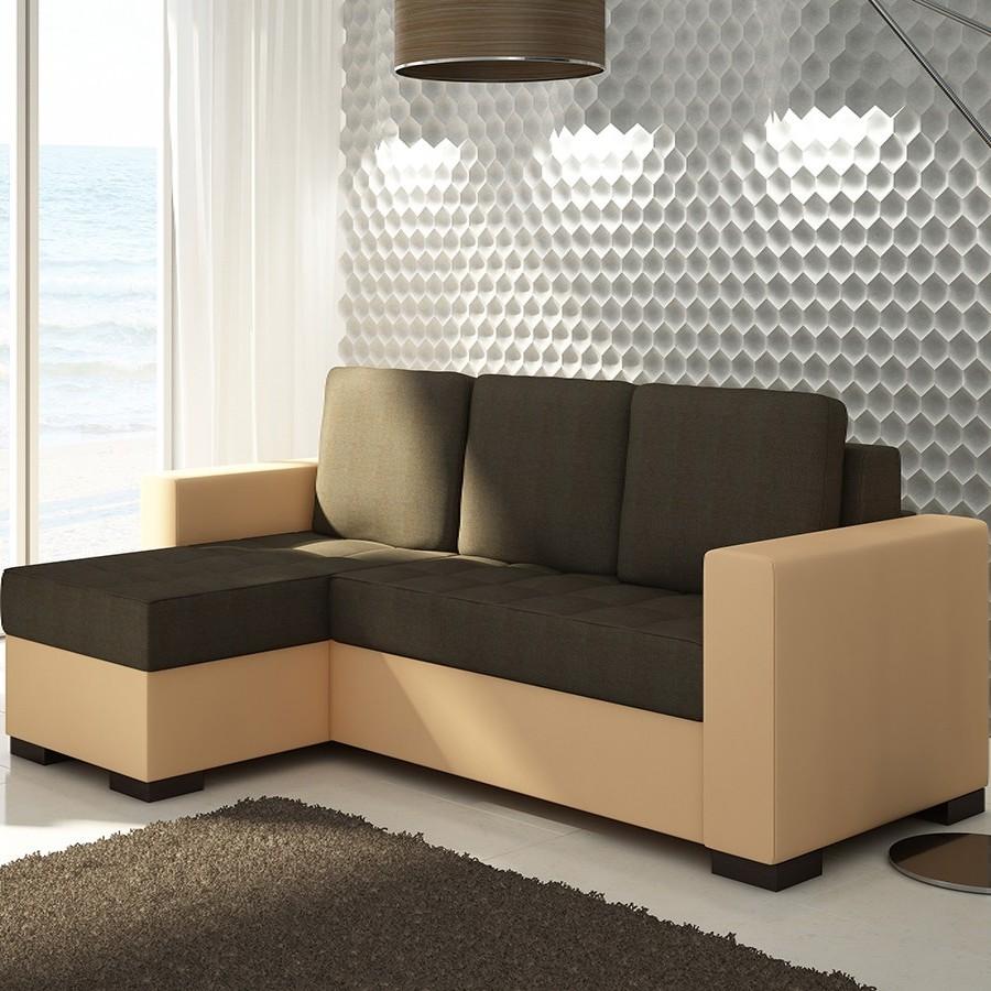 Canapé D'angle Convertible Beige Et Marron