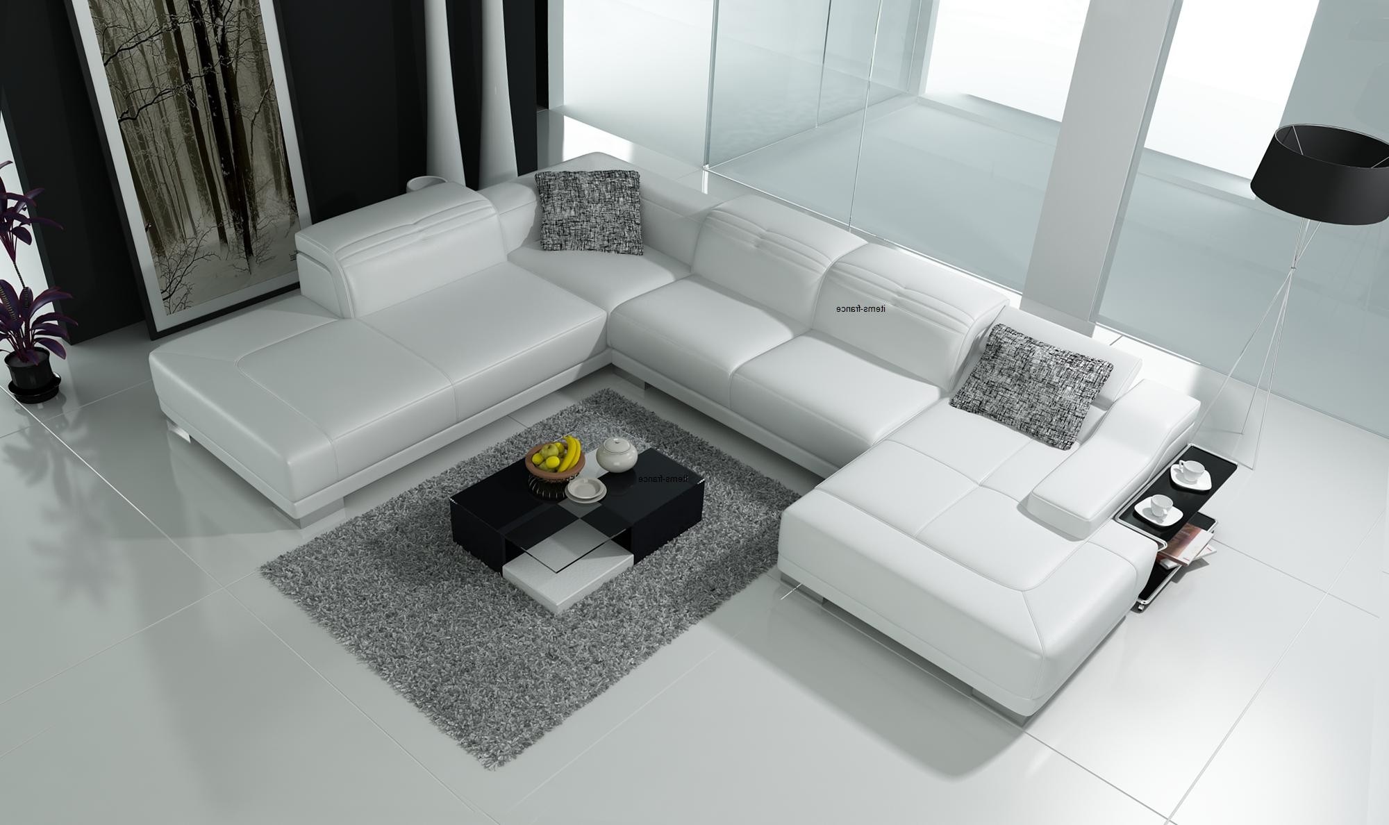 Canapé D'angle Convertible Blanc Cuir