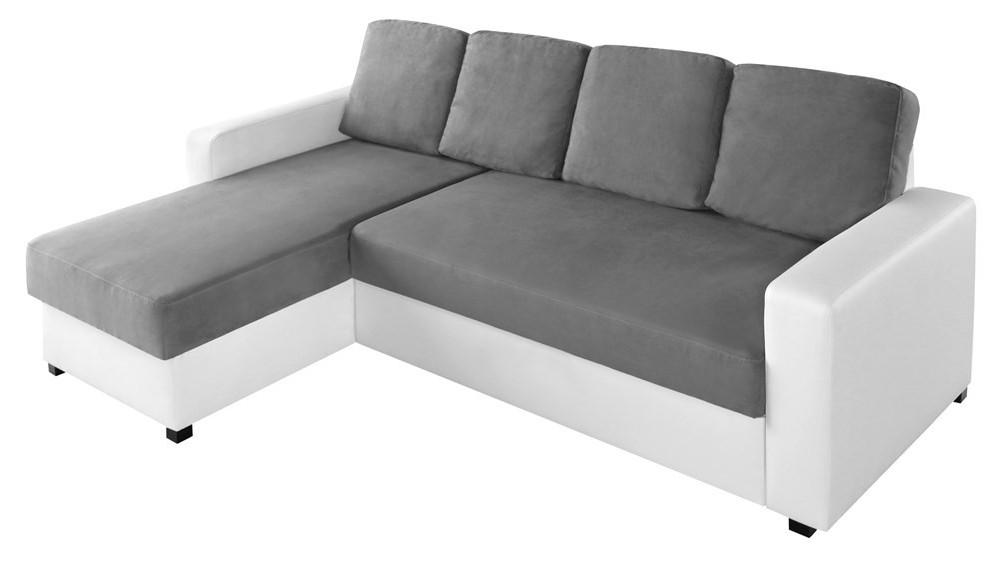 Canapé D'angle Convertible Blanc Et Gris