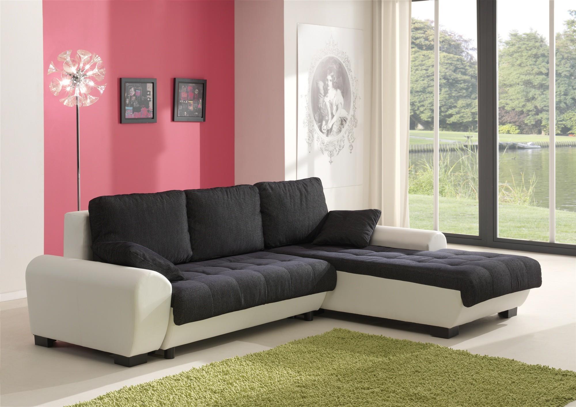 Canapé D'angle Convertible Blanc Et Noir