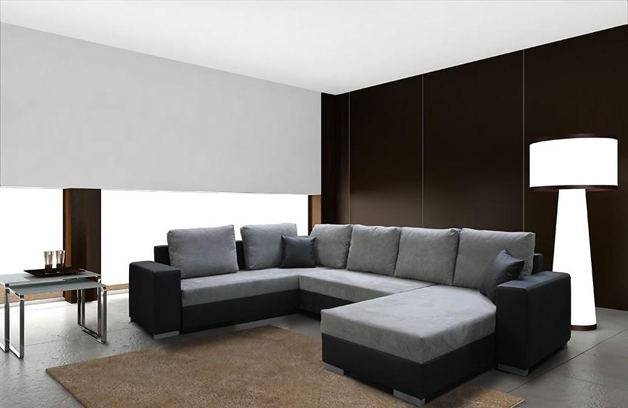 Canapé D'angle Convertible Design En Tissu Et éco Cuir Massimo